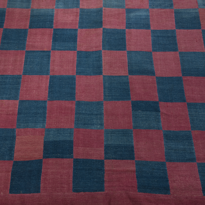 Blue and Red Check Dhurrie