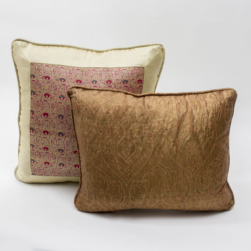 Gold Fabric and Silk Sari Cushion