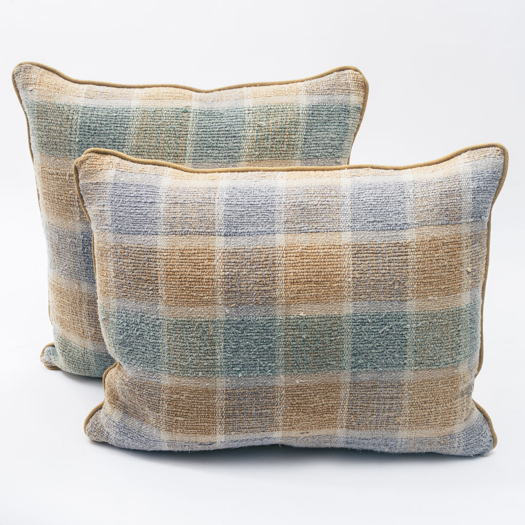 Ochre, Green and Blue Check Hemp Cushion