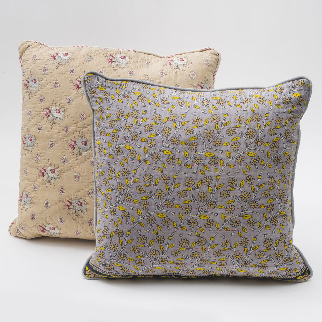 Vintage Sari & French Block Print Cushions
