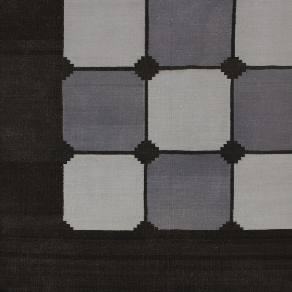 Black and Grey Tile Dhurrie