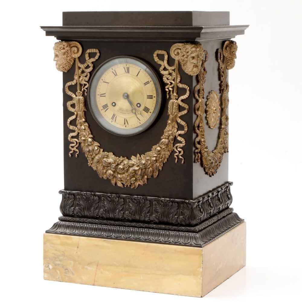 French Empire Mantle Clock by Hemon