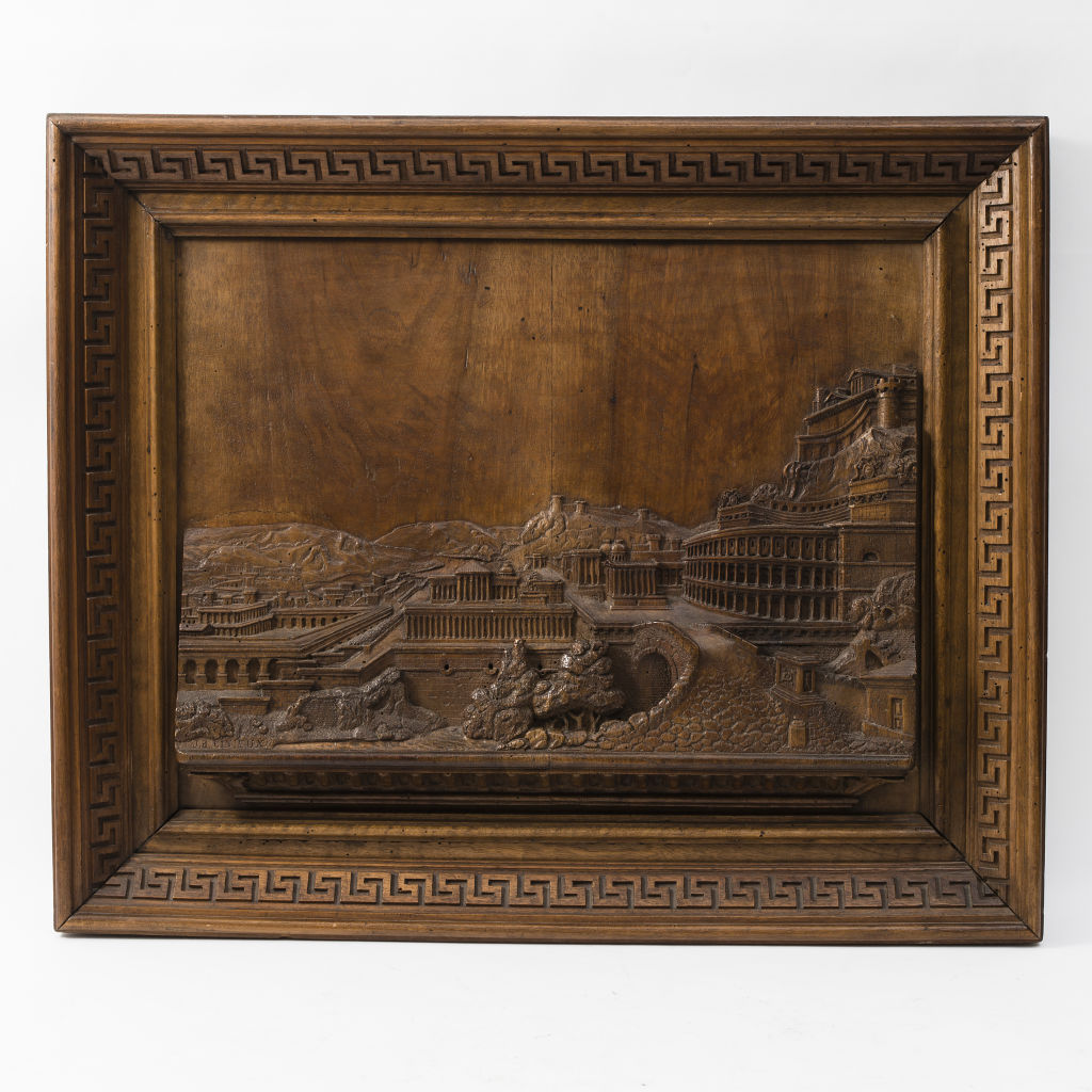 Walnut Carving of Rome by J.B.Cinieux