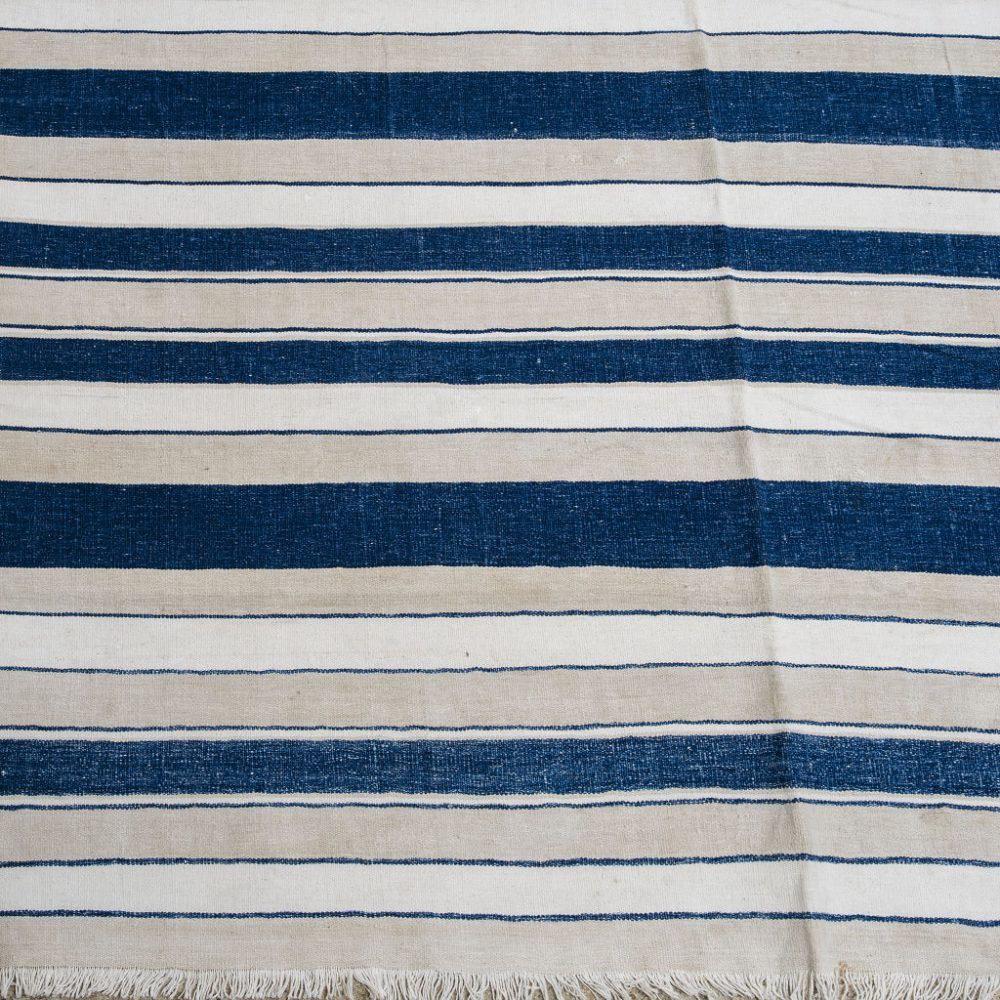 Blue and Beige Stripe Dhurrie