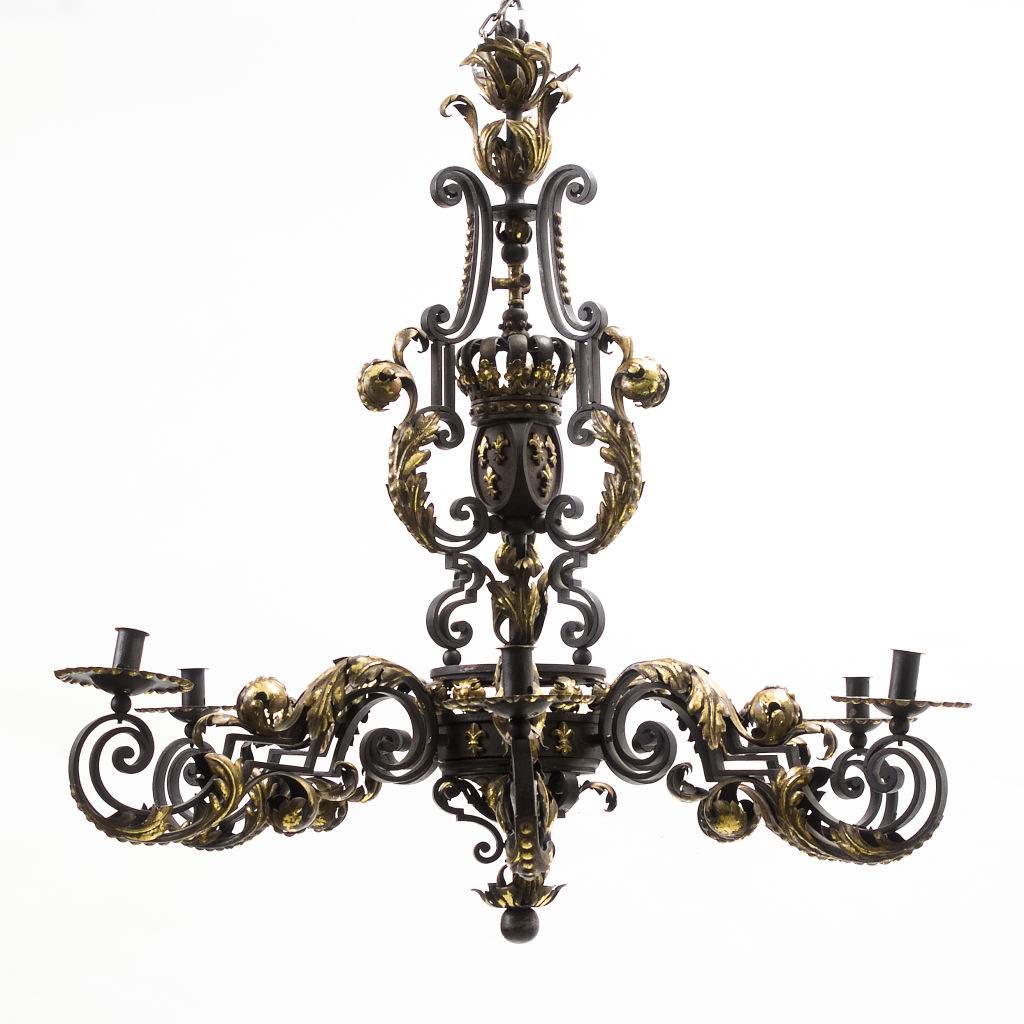 French Gilded Iron Baronial Chandelier