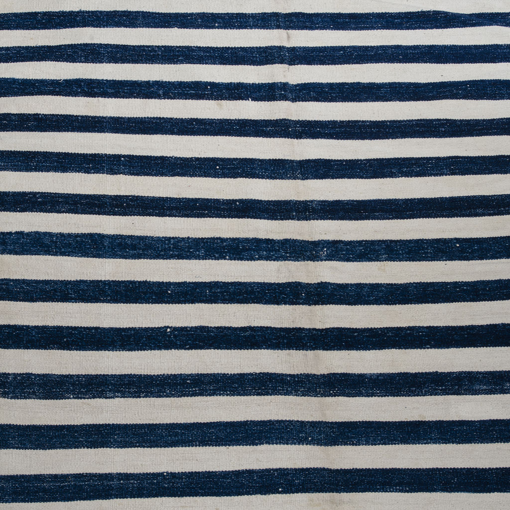 Blue & White Even Stripe Dhurrie