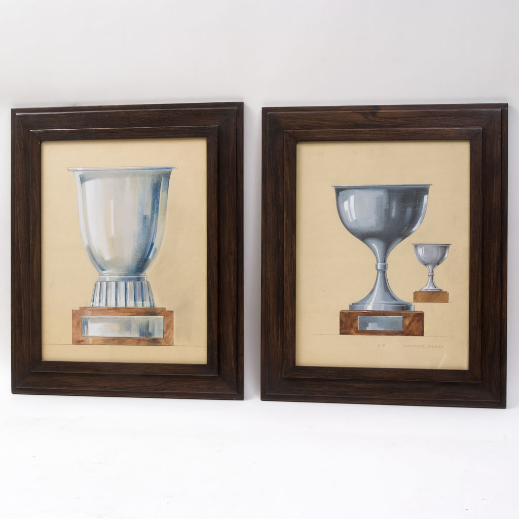 Pair Art Deco Trophy Watercolours
