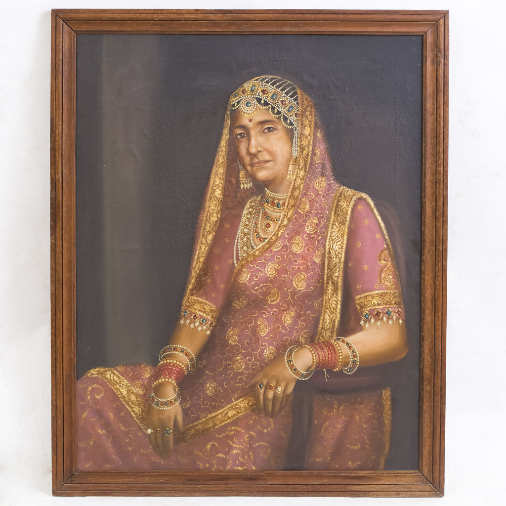 Oil Painting of Queen of Bikaner