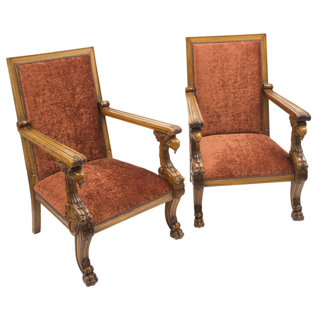 Irish Mahogany and Velvet Armchairs