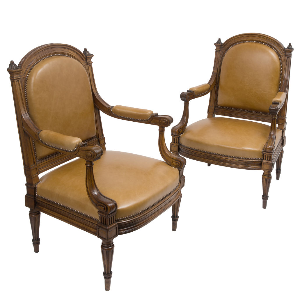 Pair Walnut Armchairs