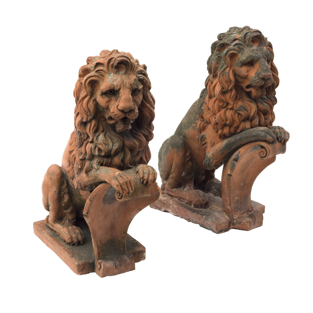 French Terracotta Lions Rampant