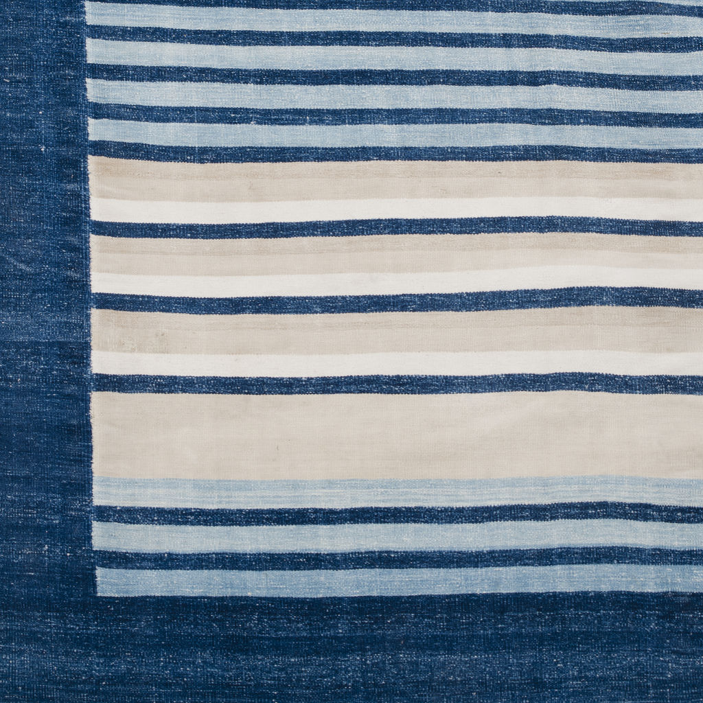 Large Blue and Beige Stripe Dhurrie