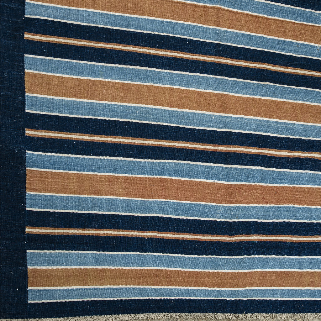 Indigo and Brown Stripe dhurrie