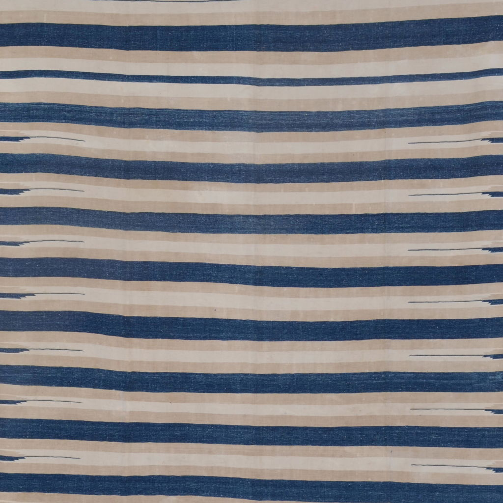 Blue and Beige Striped Dhurrie