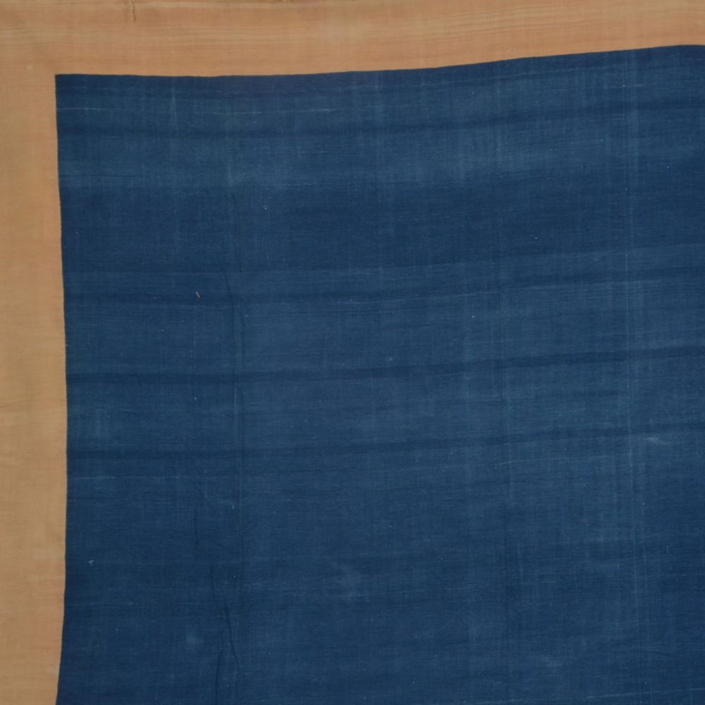 Indigo and Caramel Border Dhurrie