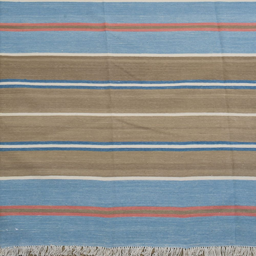 Blue and Pink Stripe Dhurrie
