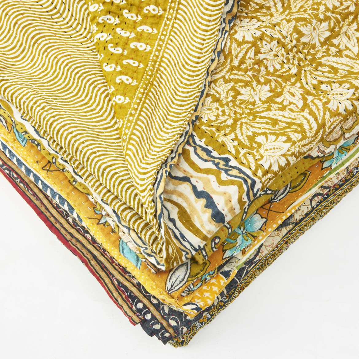 Hand quilted Sari Kantha Quilts