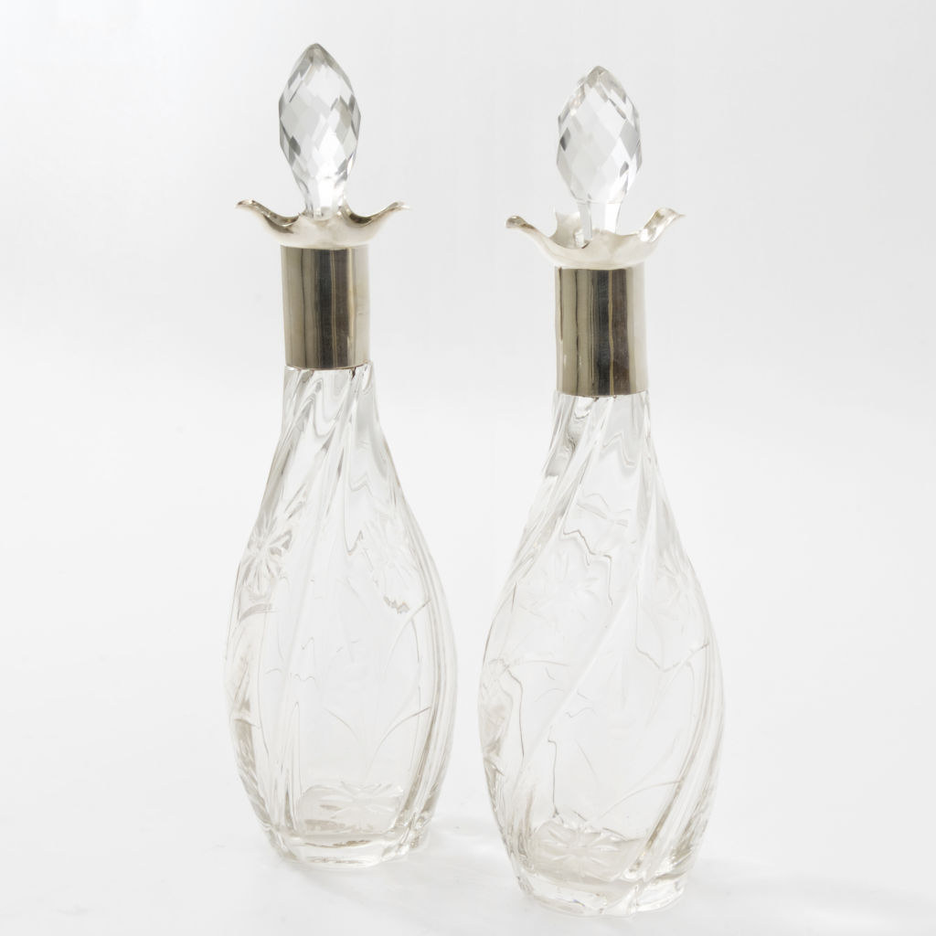 Pair English Club Shaped Decanters