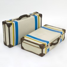 48532 Pair White Striped Suitcases