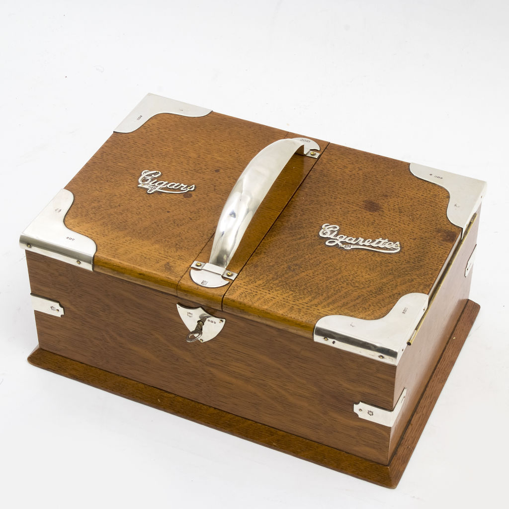 English Oak Cigar and Cigarette Box