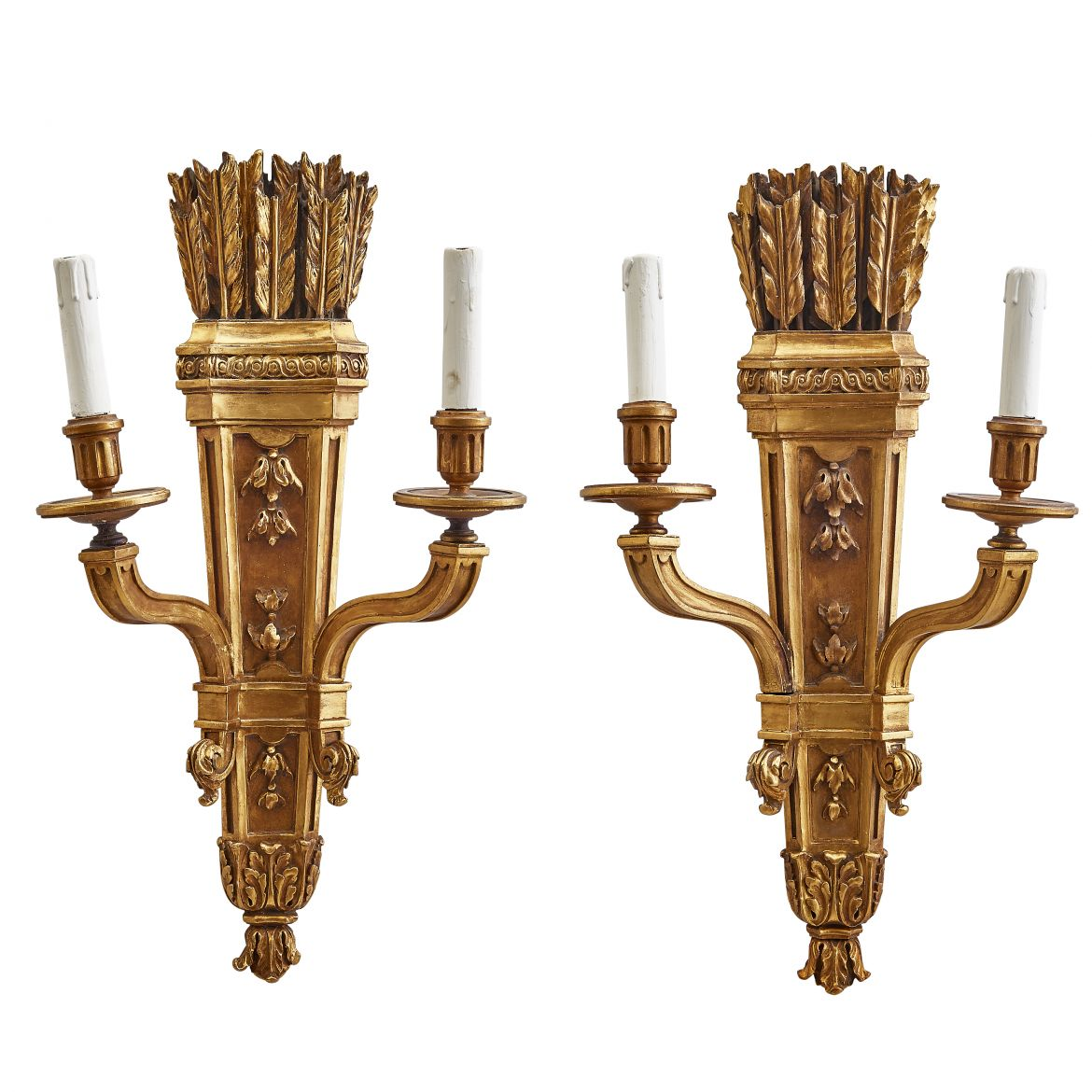 French Neoclassical Giltwood Sconces