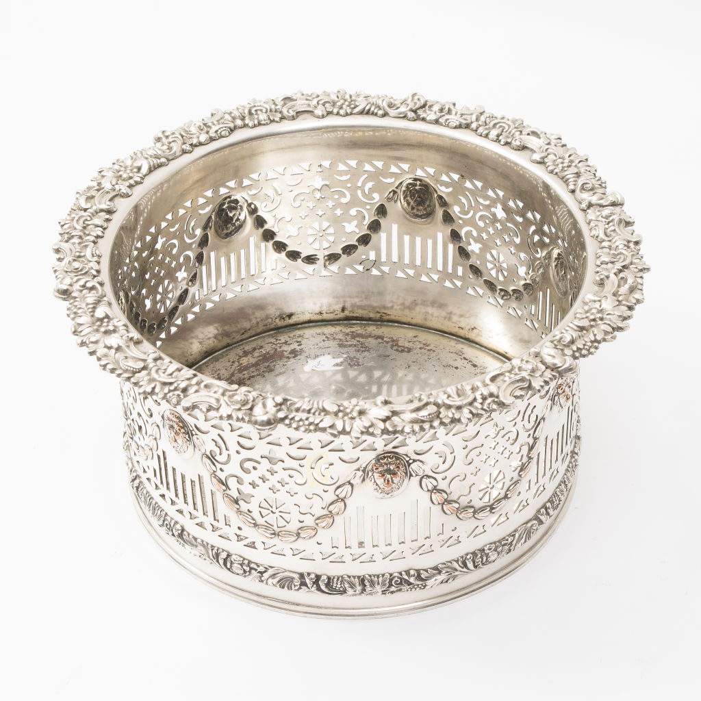 Large Victorian Silver Plate Coaster