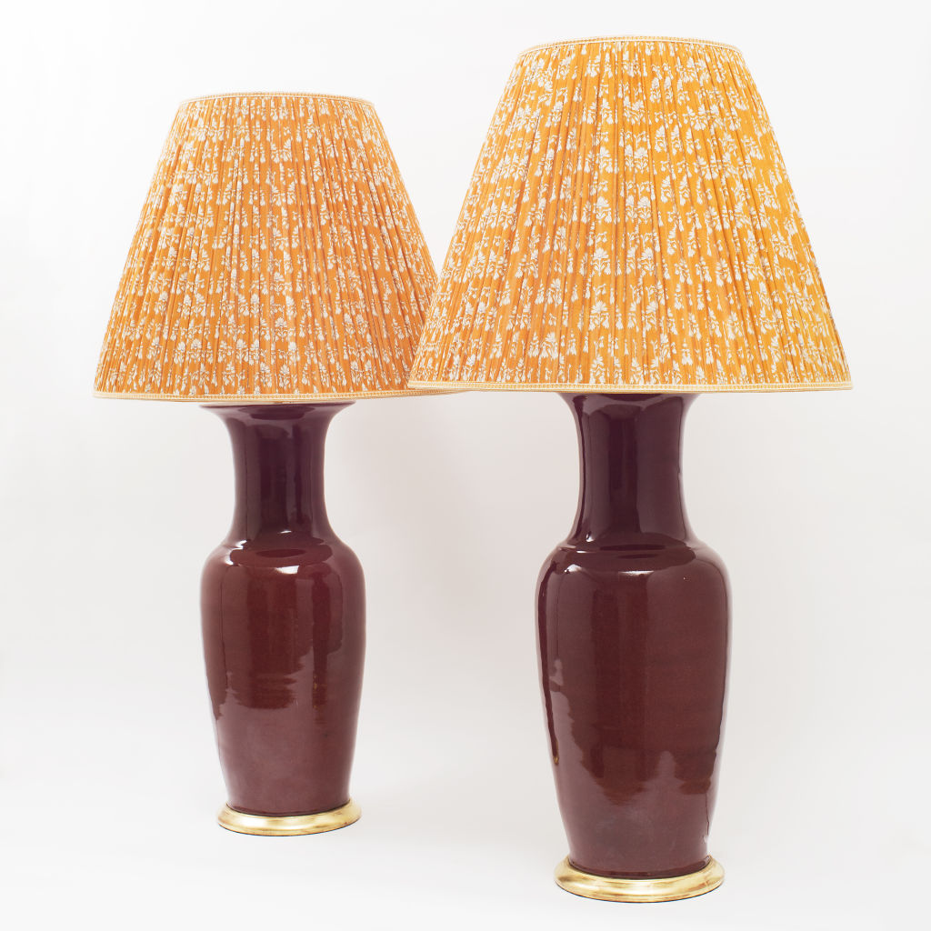 Pair Oxblood Lamps