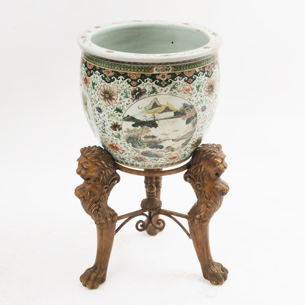 Porcelain Fishbowl on Stand