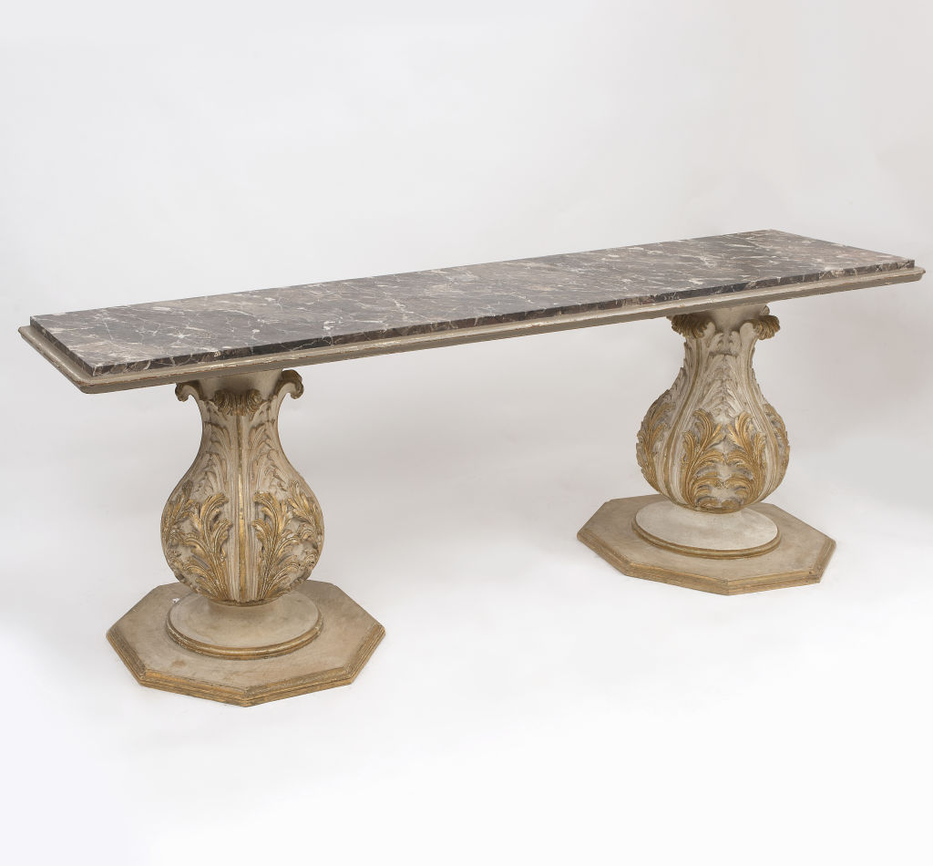 Italian Pedestal Base Console Table