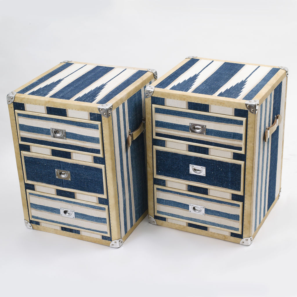 Blue Striped Dhurrie Trunk
