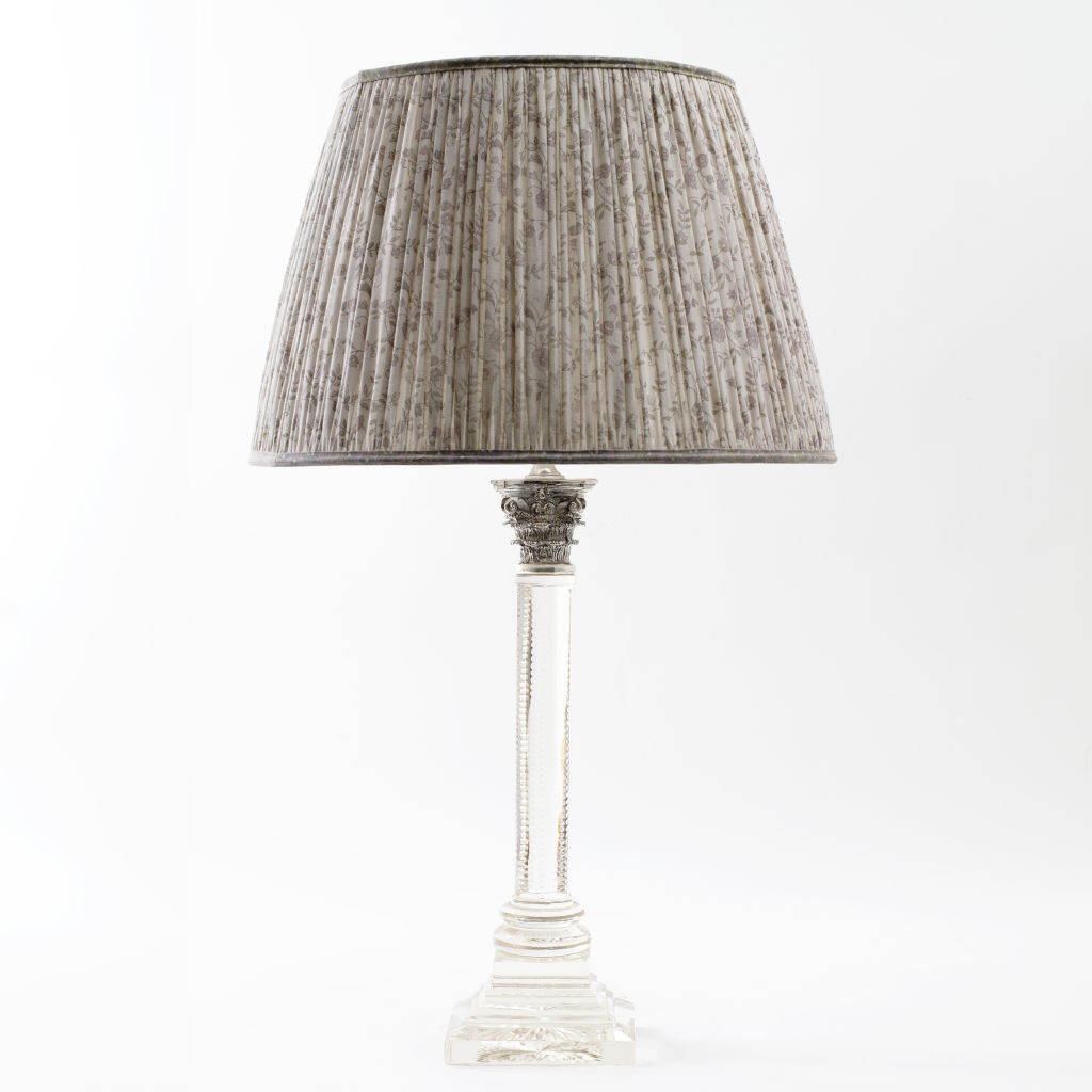 Silver Capital Glass Column Lamp