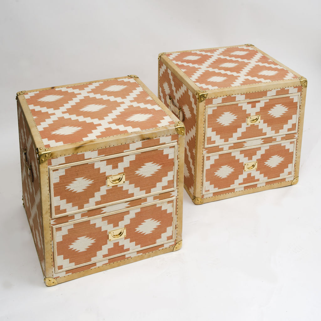 Two Drawer Dhurrie Covered Trunks
