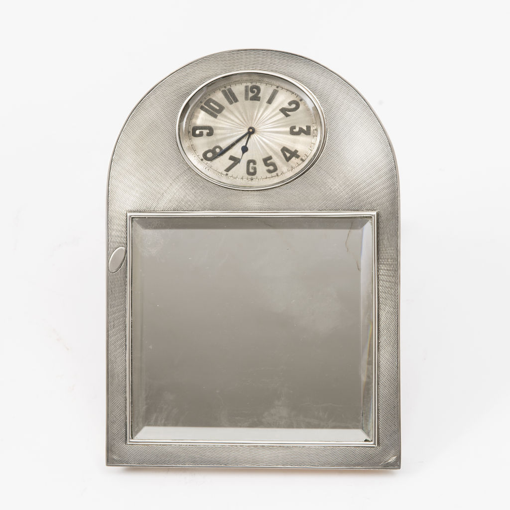 French Silver Art Deco Clock and Mirror