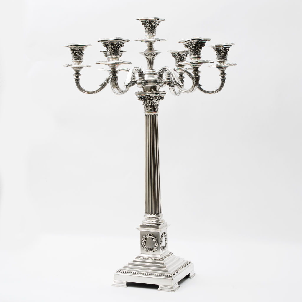 Large Silver Plate Candelabra