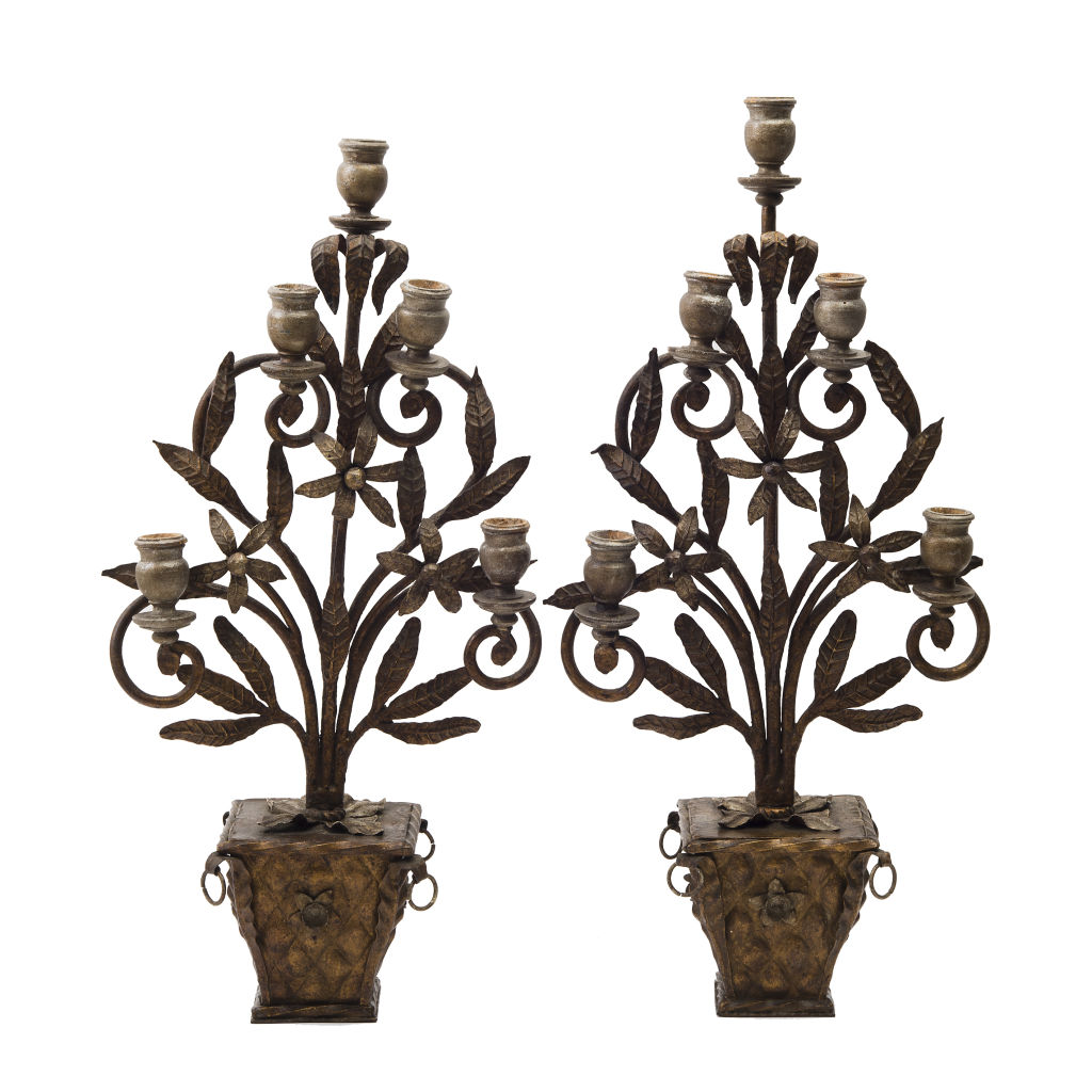 Pair Gilt Iron Candelabra