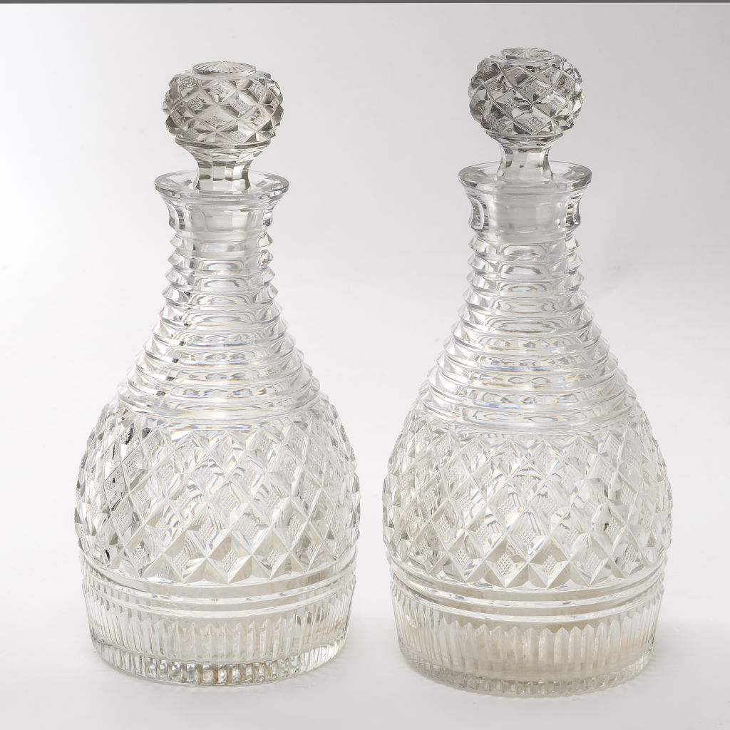 Pair Regency Crystal Decanters