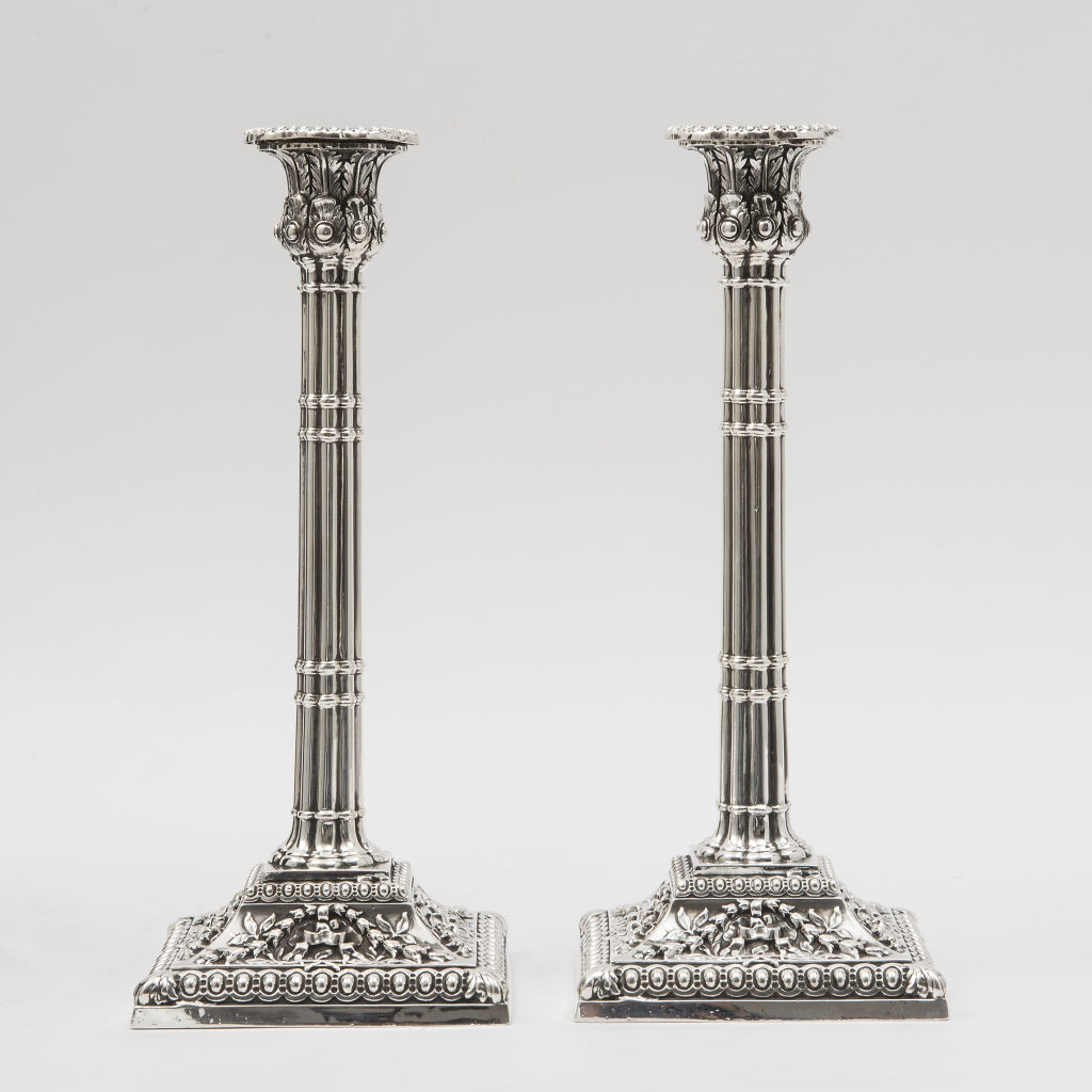 Pair English Silver Plate Candlesticks
