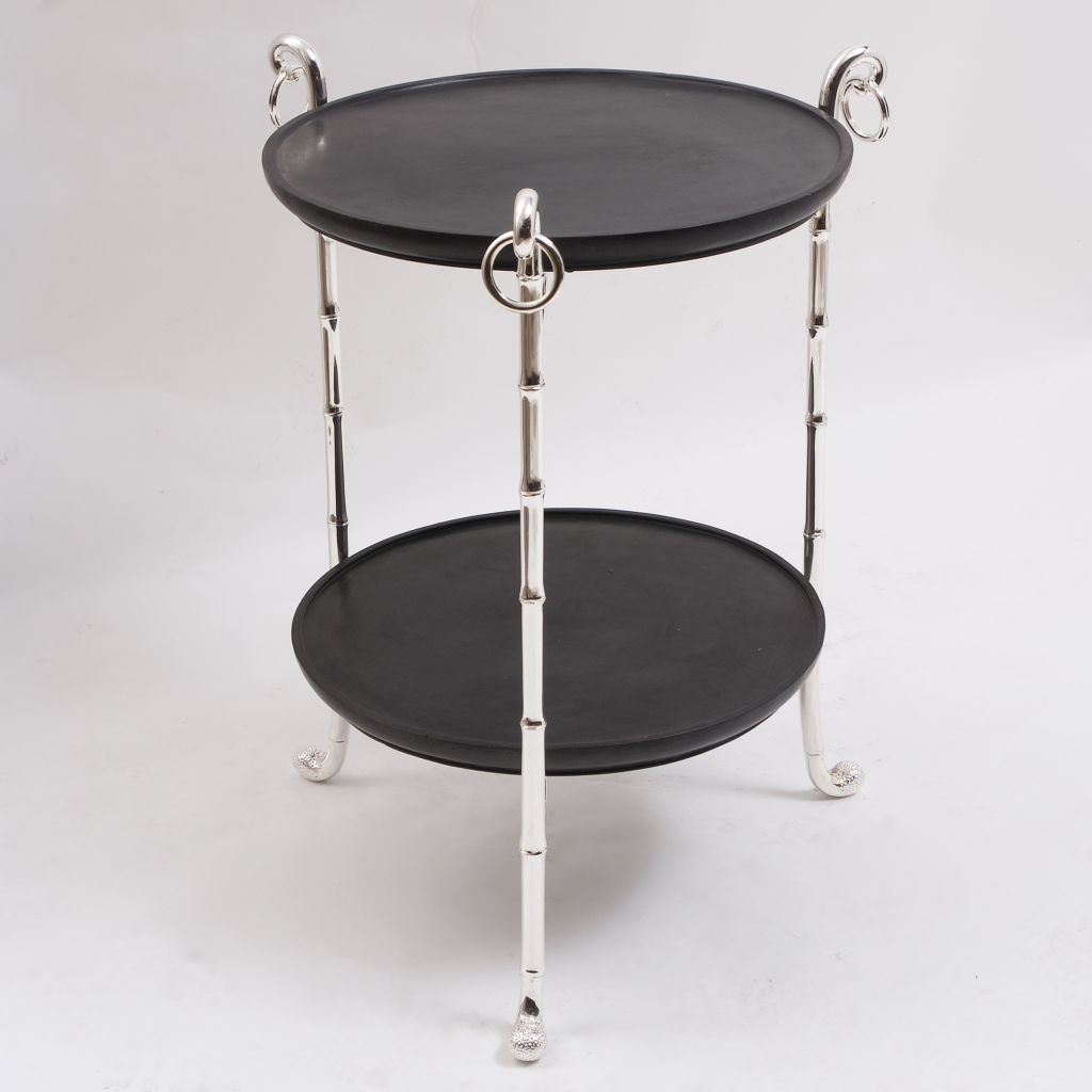 Silver Plate and Slate Etagere