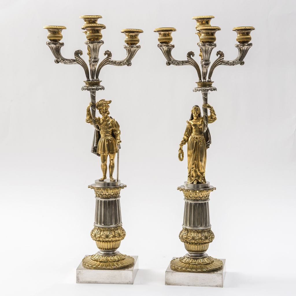Pair Silvered and Gilt Bronze Candelabra