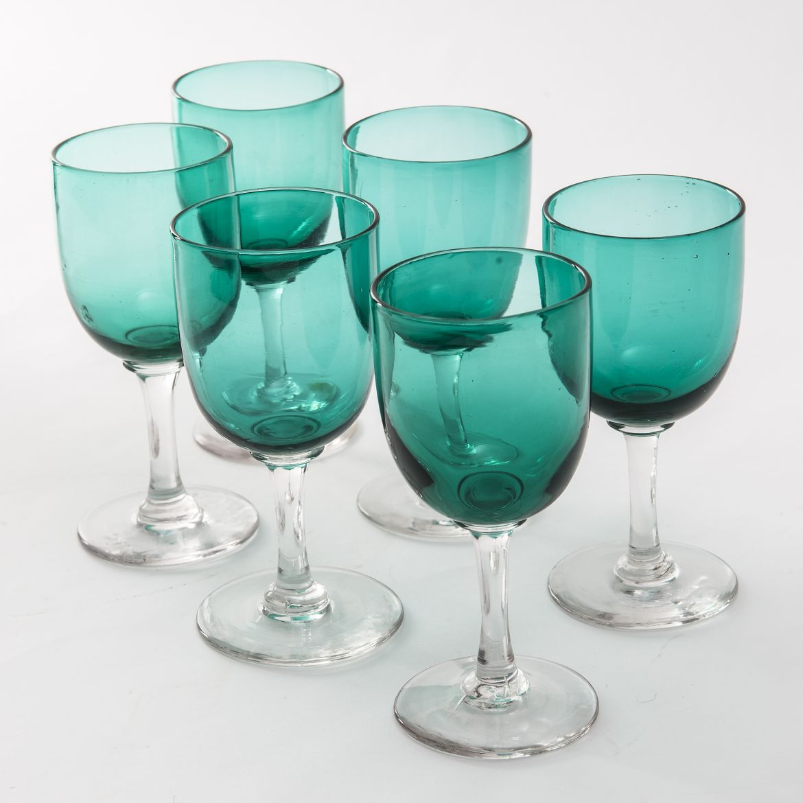 Six Victorian Green Glass Goblets