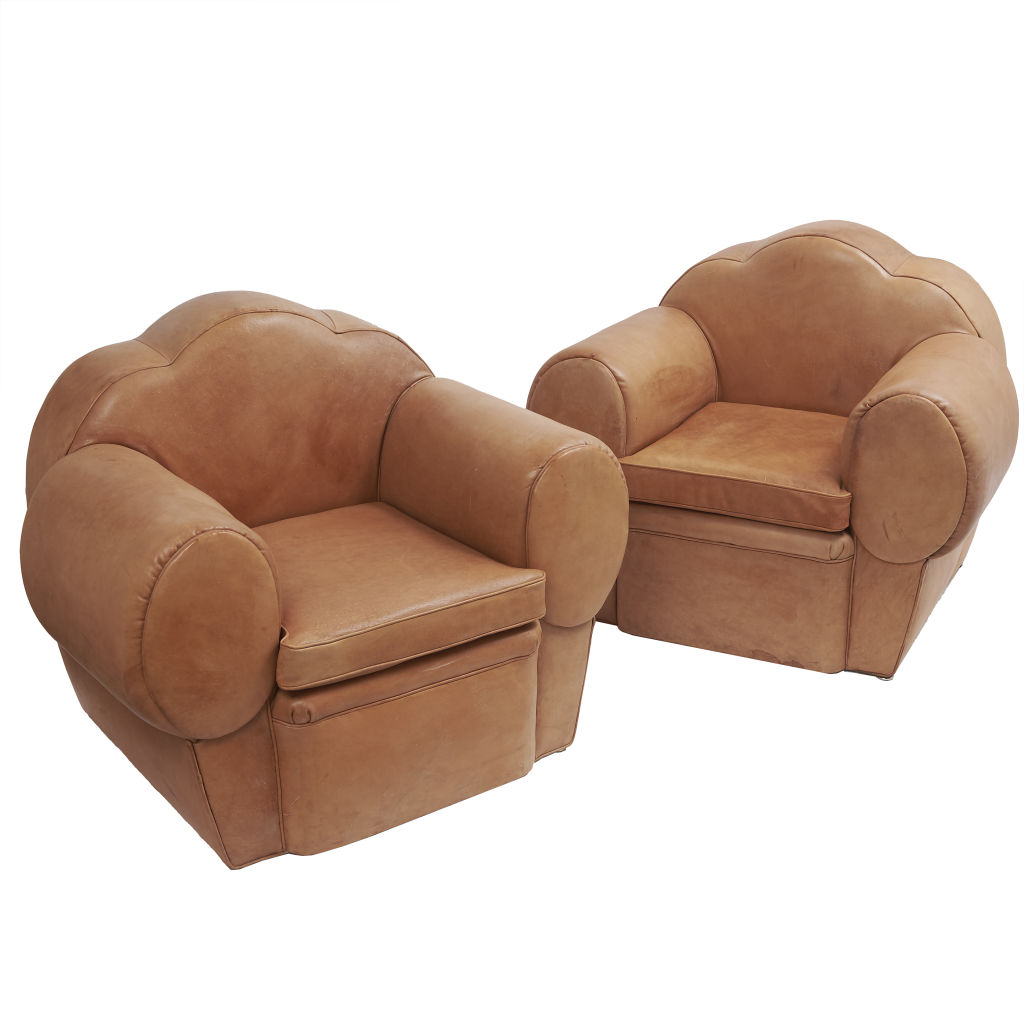 Pair 1970's Tan Leather Club Chairs