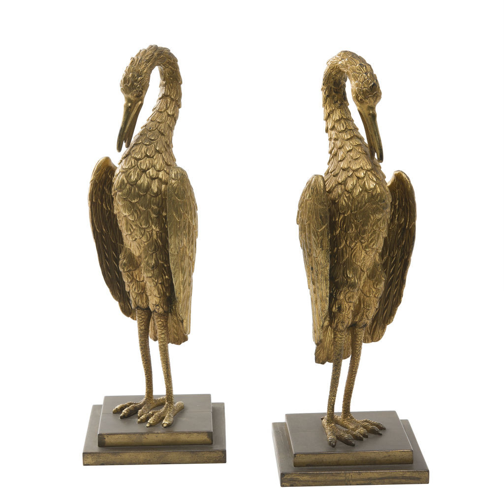 Pair Gilt Bronze Cranes