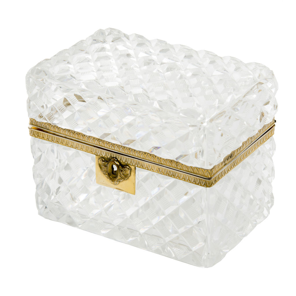 Large French Hobnail Cut Casket