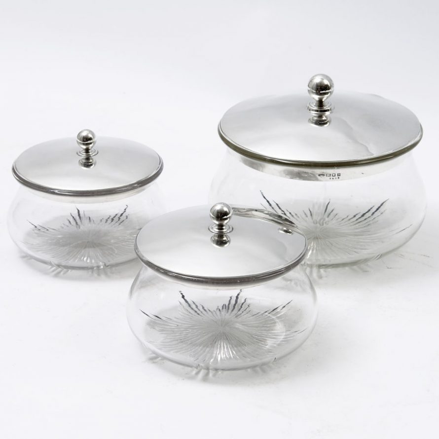 Set 3 Silver and Glass Pots