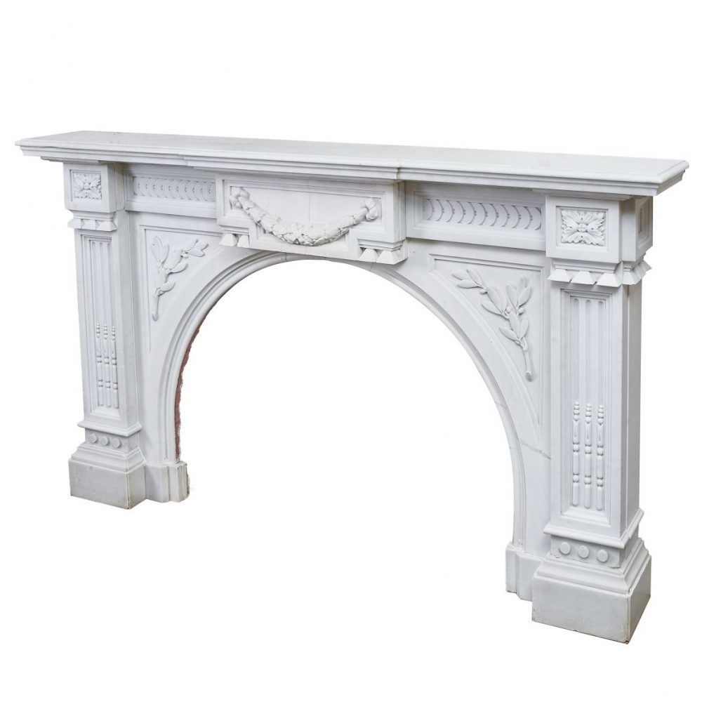 Large French Carrara Marble Fireplace