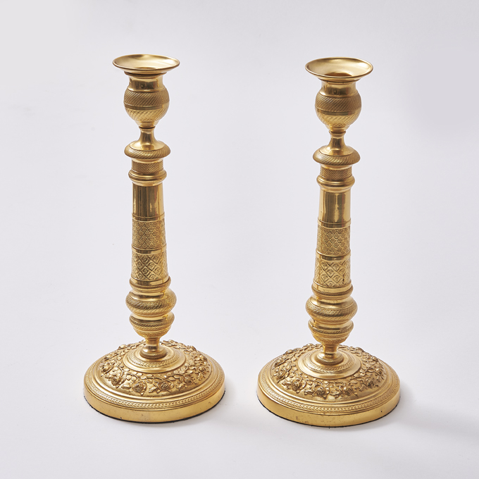 French Gilt Bronze Candlesticks