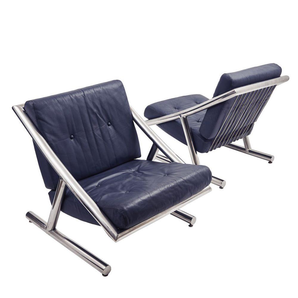 Italian 1970s Chrome and Leather Chairs