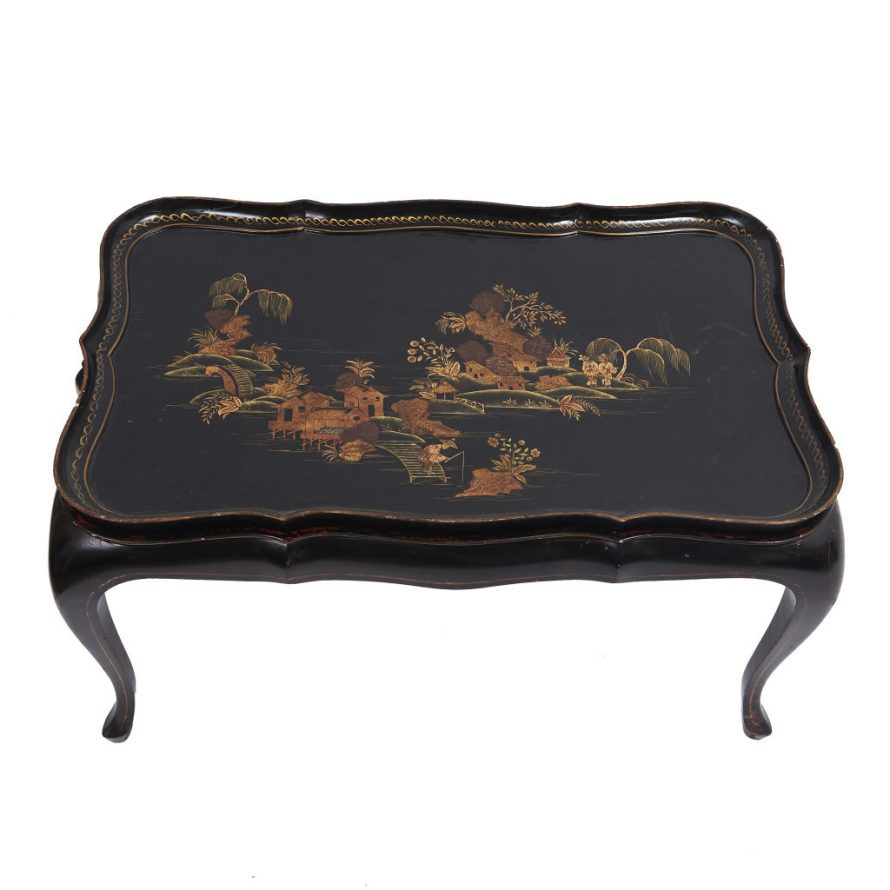 Chinoiserie Lacquer Tray on Stand