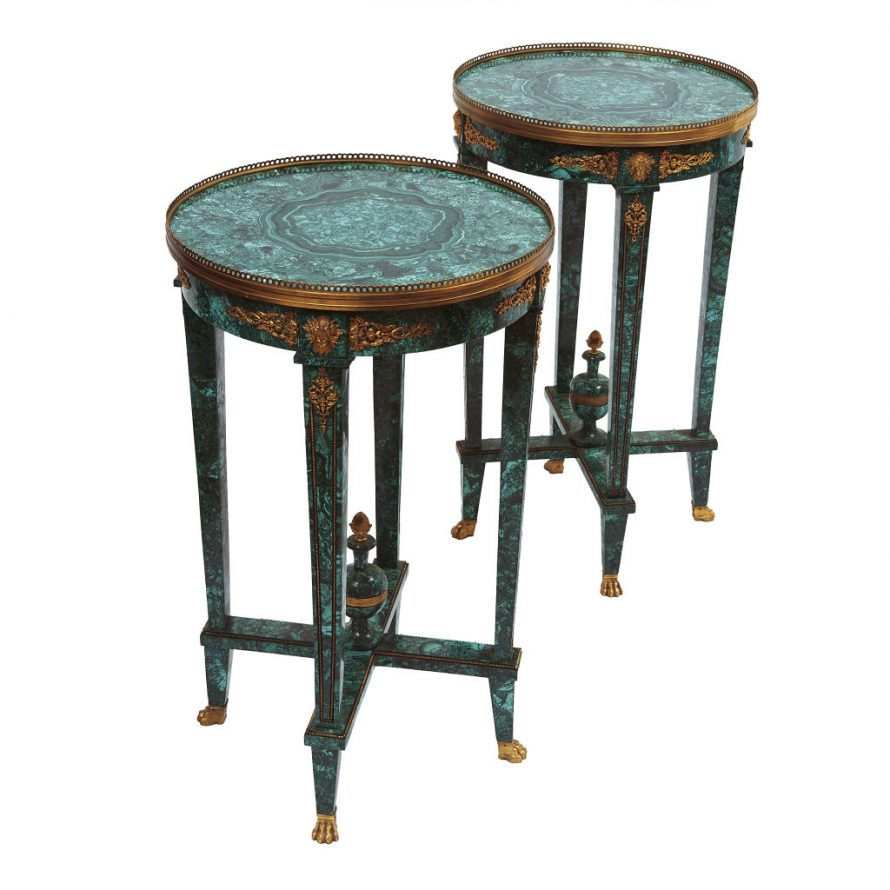 Malachite and Ormolu Occasional Tables