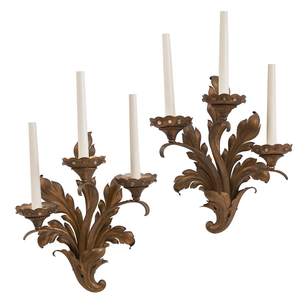French 1940s Foliate Sconces